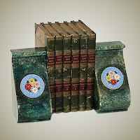 Unique Vintage Italian Bookend Pair, Floral Micro Mosaic Medallions