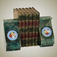 Unique Vintage Italian Bookend Pair, Floral Micro Mosaic Medallions