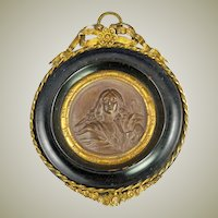 Antique French Framed Plaque, Bronze Finish Chalk Medallion in Ormolu & Wood Frame