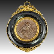 Antique French Framed Plaque, Bronze Finish Chalk Medallion in Ormolu & Wood Frame