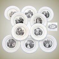 """Antique French Creil 10pc Cabinet Plate Set, """"L' Amour Partout"""" Figural Theme, Leboeuf, Milliet & Co."""