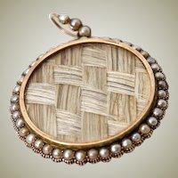 Antique Georgian 18k Gold & Seed Pearl Large Locket Pendant, Hair Art Mourning