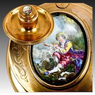 Antique French Ornate Dore Brass Inkwell Stand, Desk Tray, Kiln-fired Enamel Portrait
