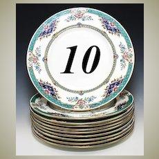 """Beautiful Antique c. 1917 Set of Minton Imari 10pc Dinner Plates, 10.25"""" Diam"""
