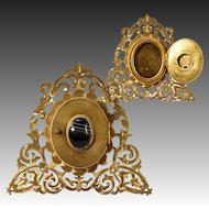 Antique Italian Made Gem Frame with Icon Locket Cover, set with Banded Agate, UK Seller