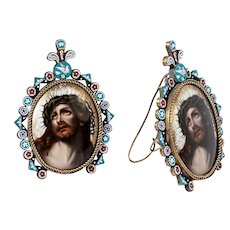 """Antique Italian 5.5"""" Micro Mosaic Frame with Painting of Christ on Porcelain Plaque, Easel Back, Micromosaic Flowers VGC"""