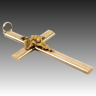 "Antique Victorian Era 14K Yellow Gold Large 2.5"" Cross, Seed Pearl Pendant"