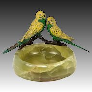 Antique Cold Painted Austria or Vienna Bronze Parrots, Alabaster Ashtray Mount, Large
