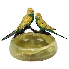 Antique Cold Painted Austria or Vienna Bronze Parrots, Alabaster Ashtray Mount, Large