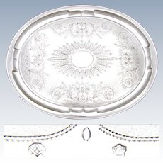 "Antique Austrian .800 (nearly sterling) Silver 18x14"" Tray, Ornate Engraved Decoration"