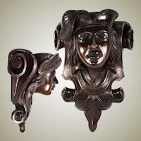 "Large 17"" Antique Carved Wood Figural Wall Shelf, Bracket Shelf Renaissance Theme, Victorian Era"
