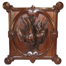 "Antique Victorian Carved Oak Black Forest ""Fruits of the Hunt"" Wall Plaque, Two Game Birds & Unique Shape"