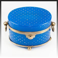 Antique French Opaline Sugar Casket, Box, Large and Excellent, Blue, Lock, no key