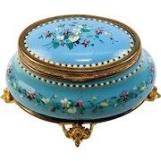 "Antique French Bresse or Sevres Kiln-fired Enamel Box, Casket, t4.5"" Oval, Delicate Floral"