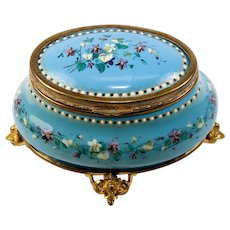 "Antique French Bresse or Sevres Kiln-fired Enamel Box, Casket, t4.5"" Oval, Delicate Floral"