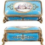 BIG Antique French Kiln-fired Enamel Jewelry or Gloves Box, Casket, Bresse Jewel & Scene