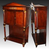 "Rare Antique French Napoleon I Era 33.5"" Table Cabinet, Empire Rosewood & Dore Bronze"
