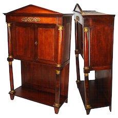 """Rare Antique French Napoleon I Era 33.5"""" Table Cabinet, Empire Rosewood & Dore Bronze"""
