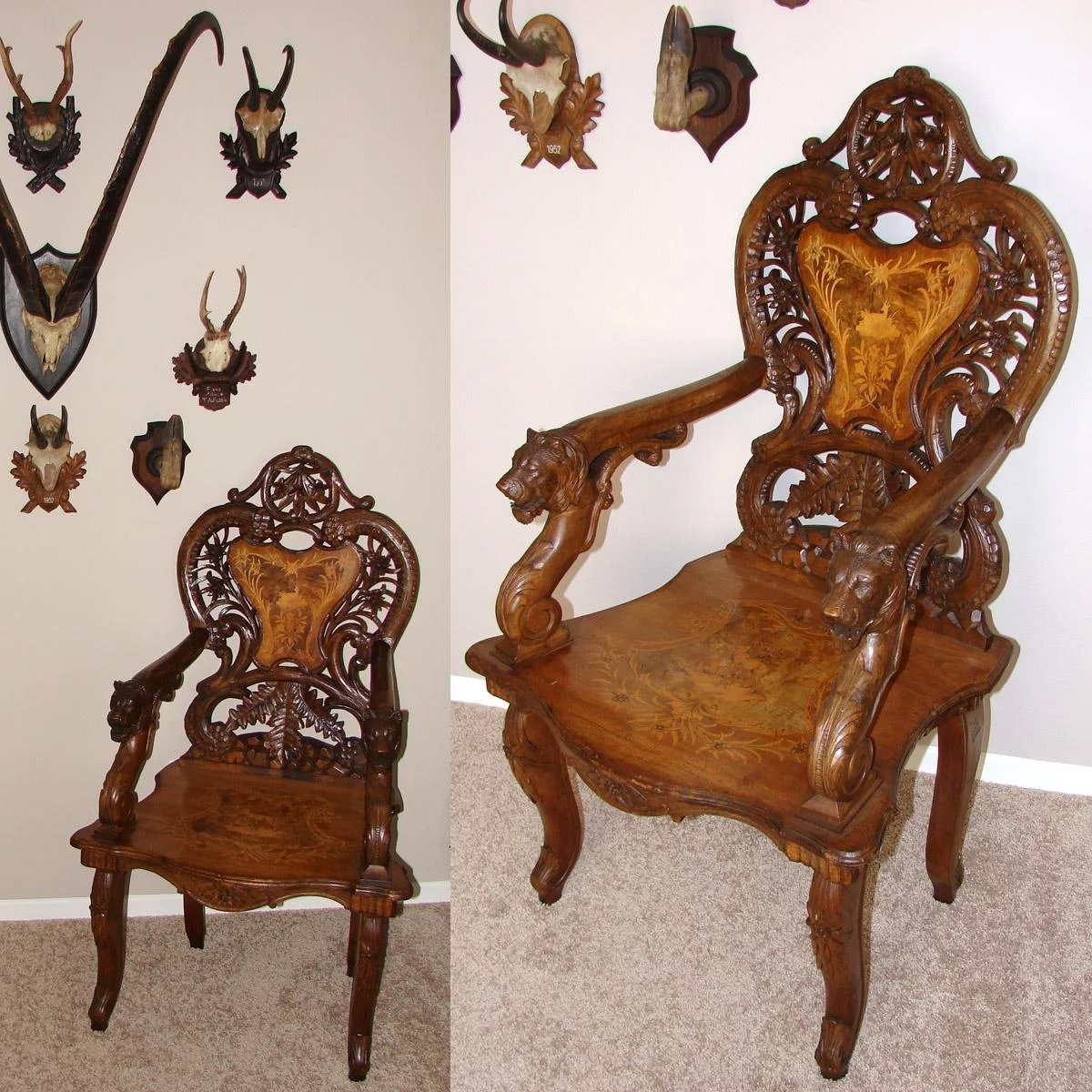 Rare Antique Swiss Black Forest 46 Quot Carved Arm Chair Hunt