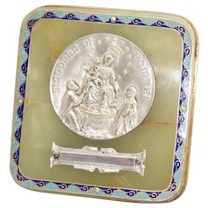 "Antique French Napoleon III Champleve Enamel & Green Onyx Plaque, ""Madonna Di Pompei"" Medallion"