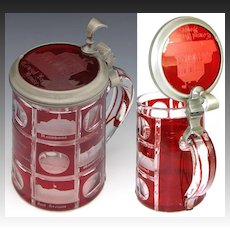 Rare Antique Bohemian Glass Beer Stein, Ruby to Clear, 7 Architectural Engravings