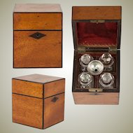 Antique French 1700s Scent Caddy, Box with 4 Perfume Flasks, Sterling Funnel, Casket