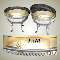 """Elegant Antique French Silver Plate 7"""" Serving Bowl PAIR, 8 3/4"""" Cut Glass Inserts, Lion Paw Cabriole Legs"""