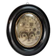 """Antique French Hair Art Mourning Icon, Large 8.5"""" x 7"""" Oval Frame, Blond, dated 1872"""