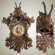 "Spectacular Antique Black Forest 26"" Cuckoo Clock Case, Hunt Theme Figural: Furderer Jaegler & Cie Marked"