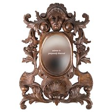 "Antique Hand Carved Black Forest or French 12"" Frame, Figural with Mirror, Acanthus, 19th c."