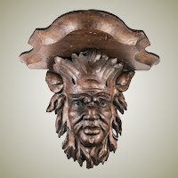 "Wonderful Antique Hand Carved Black Forest Figural 12.75"" Bracket or Clock Shelf, Bacchus ?"