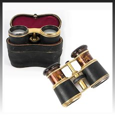 Antique French Opera Glasses in Original Leather Case, Faux Tortoise Shell