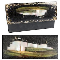 Antique Victorian Era Papier Mache Gloves or Desk Casket, Box, Mother of Pearl & Architectural Painting