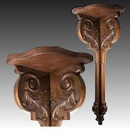 "Fabulous Antique 19th c. French Carved Wood 31"" Corner Shelf, Corner Table"