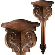 """Fabulous Antique 19th c. French Carved Wood 31"""" Corner Shelf, Corner Table"""