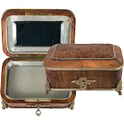 Fine Antique French Kingwood and Dore Bronze Jewelry Casket, Box, Kingwood, Lock and Key