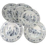 Set of 6 Antique French Plates Commemorating The Revolution. Blue & White Transfers, Luneville