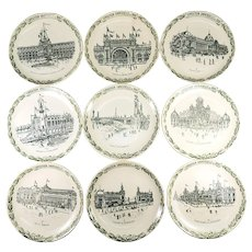 RARE Set of 9 Antique French Plates Made for the 1900 Paris Exposition Universelle, Architectural with Pavilions