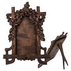 "Antique HC Wood, Black Forest 6"" Tall Carte de Visite Frame, Acorns, Easel Stand"
