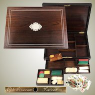 Antique Napoleon III Era French Game Chest, Box, Gambling Chips and Cards Set, Alph. GIROUX