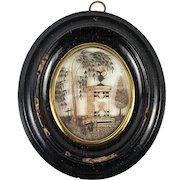 """Antique French Hair Art Mourning Icon, 5"""" x 4.5"""" Oval Frame, Blond, Tomb, Heart"""