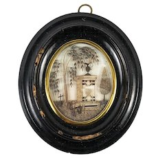 "Antique French Hair Art Mourning Icon, 5"" x 4.5"" Oval Frame, Blond, Tomb, Heart"