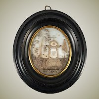"""Antique French Hair Art Mourning Icon, 5.25"""" x 4.25"""" Oval Frame, Blond, Tomb, Heart"""