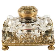 """Antique French Dore Bronze and Baccarat Crystal Empire 4"""" Inkwell, Napoleon Swans, EC"""