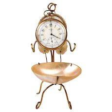 Antique 19th c. French Mother of Pearl & Ormolu Pocket Watch Stand, Vide Poche