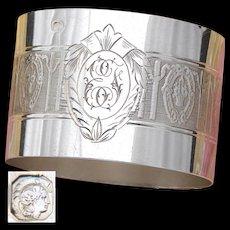 Antique French Sterling Silver Napkin Ring, Flower Basket, Bow & Ribbon Decoration, EF Monogram