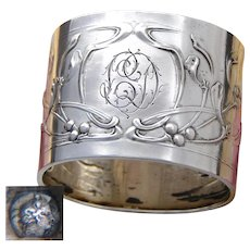 Gorgeous Antique French Sterling Silver Napkin Ring, Ornate Art Nouveau Floral Decoration, LD Monogram