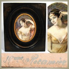 Antique French Portrait Miniature, Painting on Card, in Frame: Mme Recamier