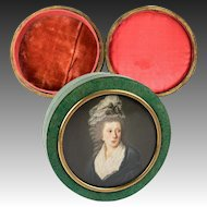RARE Antique 1700s French Shagreen Snuff Size Box, Exceptional Portrait Miniature, Silk Lined