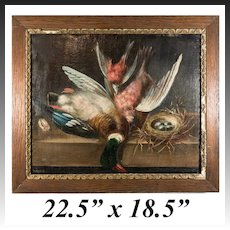 """Antique French Oil Painting, Nature Morte, Fruits of the Hunt, Duck and Game Birds, 21.5"""" x 18.5"""" Oak Frame"""